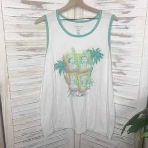 THE GOLDEN GIRLS ABC STUDIOS Miami Graphic 80's Plus Size Tank White Green XXL